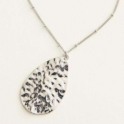 Elizabeth and James Hammered Teardrop Pendant Necklace