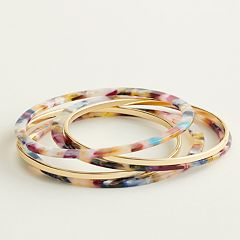 Elizabeth and James Tortoise & Gold Tone Bangle Bracelet Set