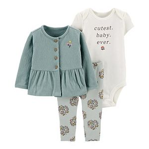 Baby Girl Carter's 3-Piece Little Cardigan, Bodysuit & Pants Set