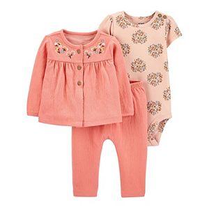 Baby Girl Carter's 3-Piece Cardigan, Bodysuit & Pants Set