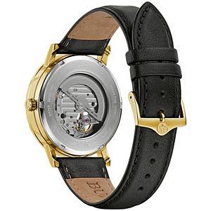 Bulova Men's Automatic Black Leather Watch - 97A154K