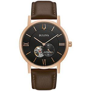 Bulova Men's Automatic Brown Leather Watch - 97A155K
