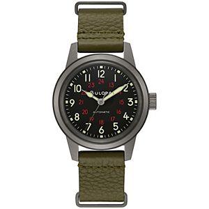 Bulova Men's Automatic Military Leather NATO Strap Watch - 98A255K