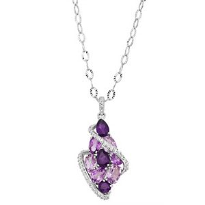 Sterling Silver Amethyst & Lab-Created White Sapphire Cluster Floral Pendant Necklace