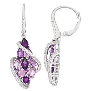 Sterling Silver Amethyst & Lab-Created White Sapphire Cluster Floral Earrings