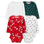 Baby Girl Carter's 4-Pack Holiday Original Bodysuit