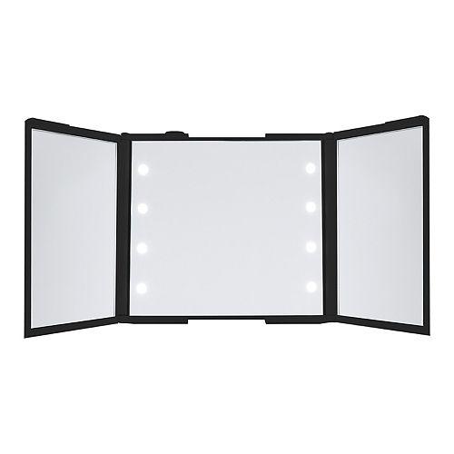 Thinkspace Tri Fold Led Makeup Mirror In Black