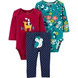 Baby Girl Carter's 3-Piece Bodysuits & Pants Owl Little Character Set