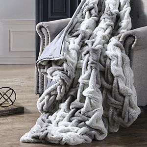 Classic Elegance Modern Threads Faux Fur Braided Throw Blanket