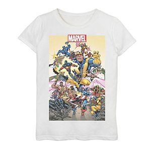 Girls 7-16 Marvel D23 Exclusive Action Pose Collage Poster Graphic Tee