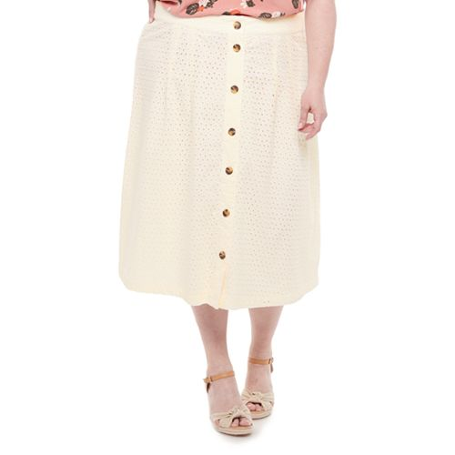 Plus Size EVRI™ Button-Front Midi Skirt