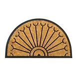 RugSmith Natural Moulded Rubber Coir Half-round Doormat