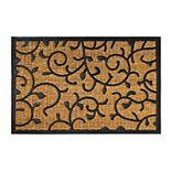 RugSmith Natural Moulded Rubber Coir Vines Doormat