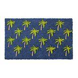 RugSmith Machine Tufted Palm Tree Graphic Coir Doormat