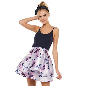 Juniors' Speechless Sleeveless Double Layer Box Pleat Skater Dress