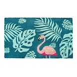 RugSmith Machine Tufted Palm Leaves Flamingo Coir Doormat