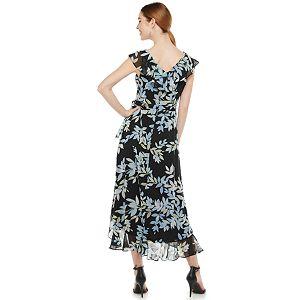 Petite Suite 7 Leaf Print Ruffle Faux-Wrap Dress