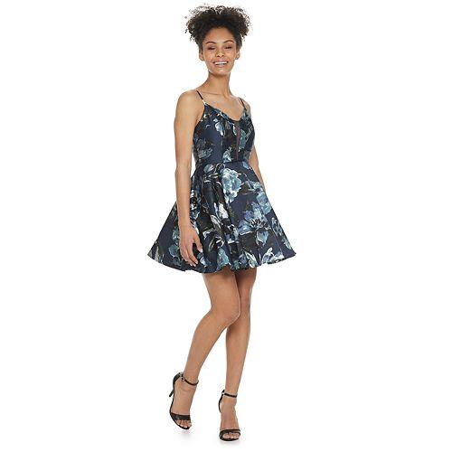 Speechless Womens Scalloped Hem Fit /& Flare Dress