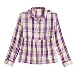 Girls 6-20 & Plus SO® Button-Front Plaid Babydoll Top