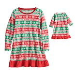 Jammies For Your Families® Girls 4-16 Christmas Like You Mean It Nightgown & Matching Doll Gown Pajamas