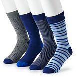 Men's Croft & Barrow® 4-pack Opticool Patterned & Solid Crew Socks
