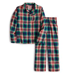 Boys 4-20 Jammies For Your Families® Navy Notch Flannel Top & Pants Pajama Set