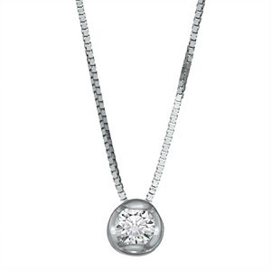 Sirena Collection 14k White Gold 1/10 Carat Diamond Single Stone Pendant