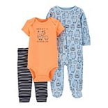 Baby Carter's 3-Piece Monster Sleep & Play & Bodysuit Set