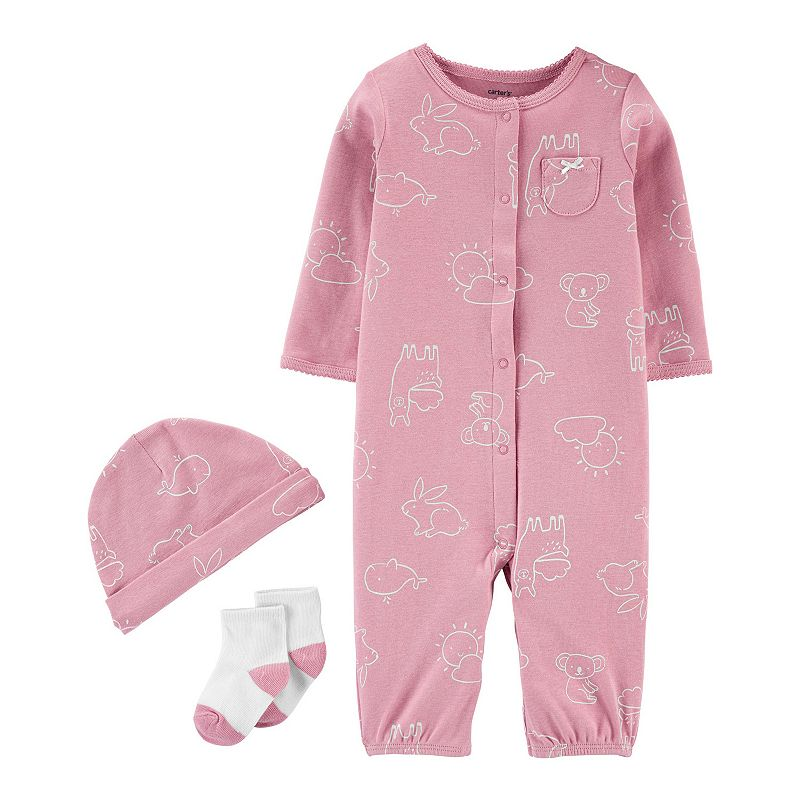 Baby Girl Carter's 3-Piece Take-Me-Home Set, Infant Girl's, Size: 9 Months, Pink
