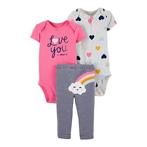 Baby Girl Carter's 3-Piece Rainbow Bodysuits & Pants Set