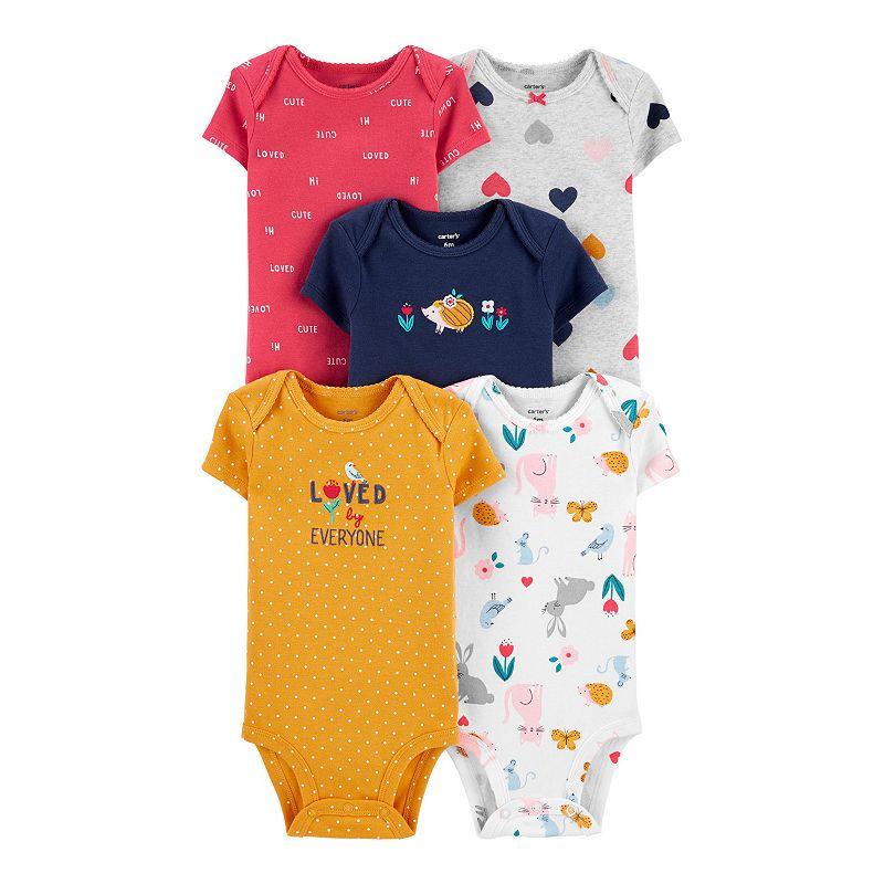 Baby Girl Carter's 5-Pack Hearts Original Bodysuits. Infant Girl's. Size: Newborn. Multi