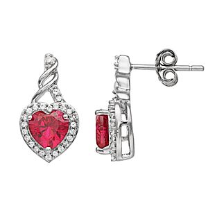 Sterling Silver Heart-Shaped Ruby & Lab-Created White Sapphire Stud Earrings