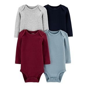 Baby Carter's 4-Pack Long-Sleeve Solid Bodysuits