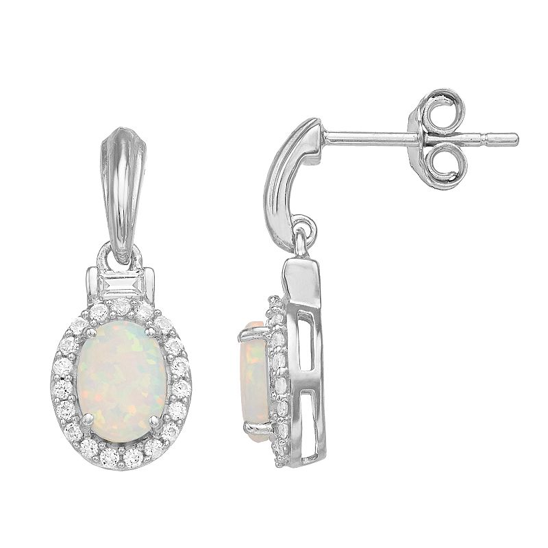 Sterling Silver Lab-Created Opal & Lab-Created White Sapphire Oval Drop Earrings, Women's