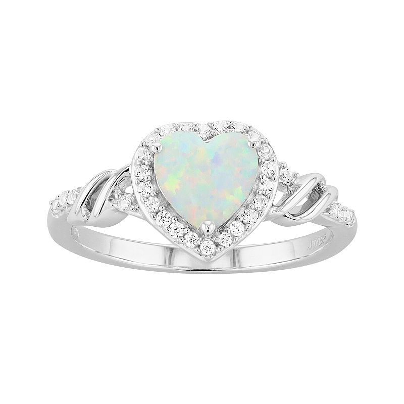 Sterling Silver Lab-Created Opal & Lab-Created White Sapphire Heart Ring, Women's, Size: 8