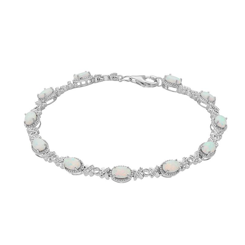 """Sterling Silver Lab-Created Opal & Lab-Created White Sapphire Bracelet, Women's, Size: 7.5"""""""