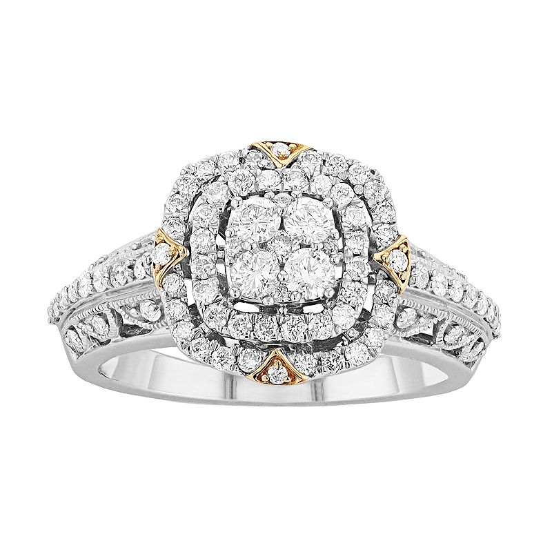 10K Gold 3/4 Carat TW Diamond Cushion Ring. Women's. Size: 6. White