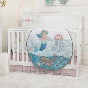 Girls NoJo Sugar Reef Mermaid 4 Piece Crib Bedding Set