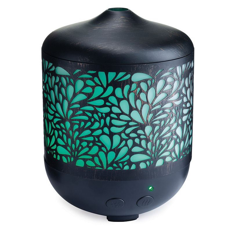 Petal Punched Ultrasonic Essential Oil Diffuser, Black