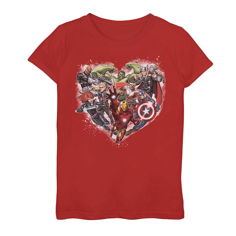 Girls 7-16 Marvel Avengers Heart Group Shot Graphic Tee. Girl's. Size: Small. Red