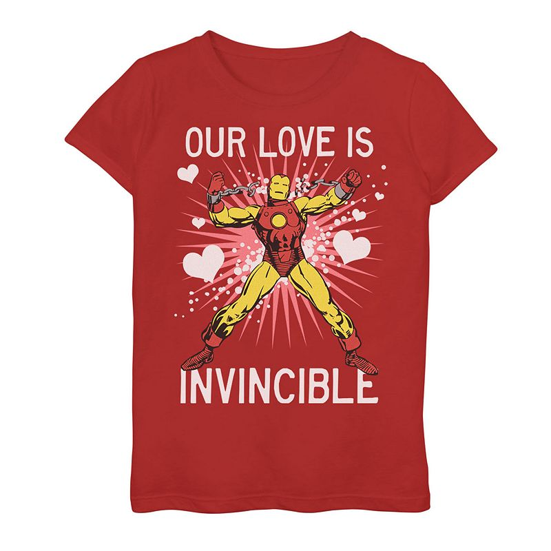 """Girls 7-16 Marvel Iron Man """"Our Love Is Invincible"""" Valentine's Day Tee. Girl's. Size: Small. Red"""