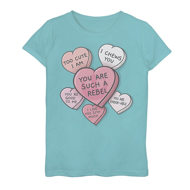 Girls 7-16 Star Wars Candy Heart Quotes Graphic Tee. Girl's. Size: Small. Blue