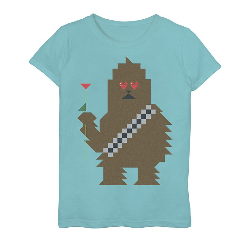 Girls 7-16 Star Wars Chewbacca 8-Bit Heart Eyes Graphic Tee. Girl's. Size: Small. Blue