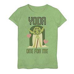 Girls 7-16 Star Wars Valentine's Day Yoda One For Me Tee