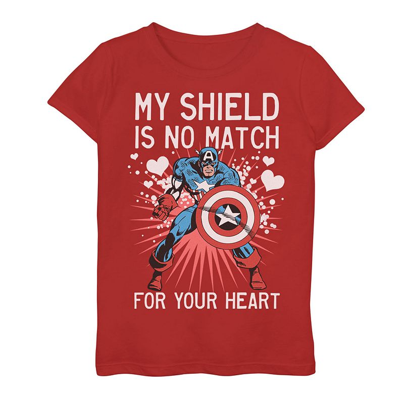 Girls 7-16 Marvel Captain America Heart Shield Valentine's Day Tee, Girl's, Size: XL, Red