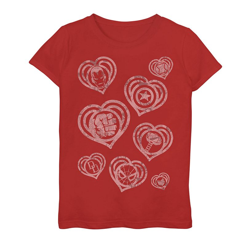 Girls 7-16 Marvel Hero Icon Hearts Graphic Tee. Girl's. Size: Small. Red