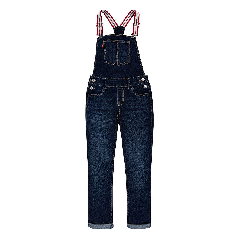 Girls 7-16 Levi's Stretch Denim Overalls, Girl's, Size: 10, Dark Blue