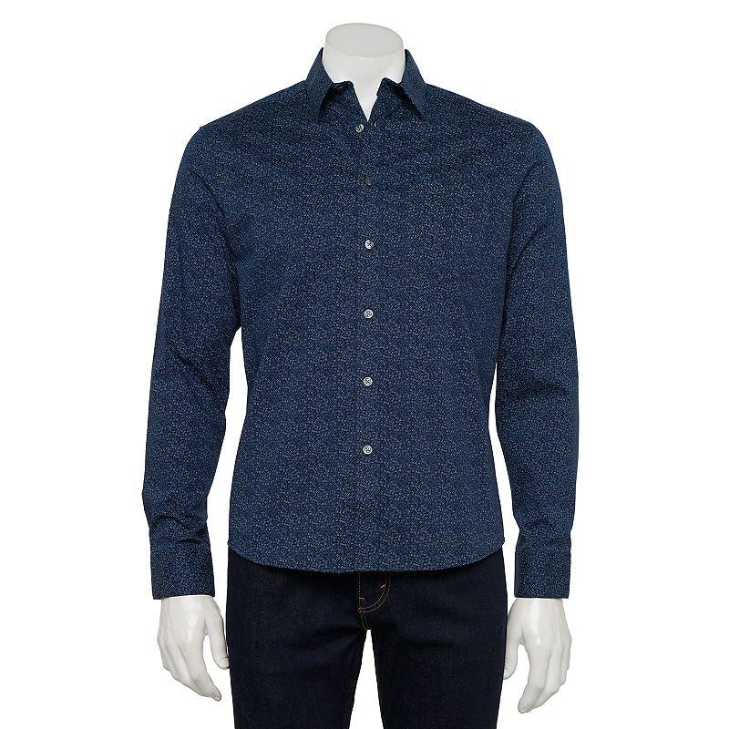Men's Apt. 9 Untucked Fit LS Button Down, Size: XXL, Dark Blue