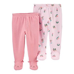 Baby Girl Carter's 2-Pack Cotton Footed Pants