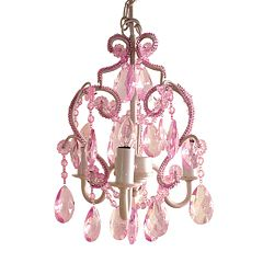 Sleeping Partners 3-Bulb Mini Chandelier - Pink